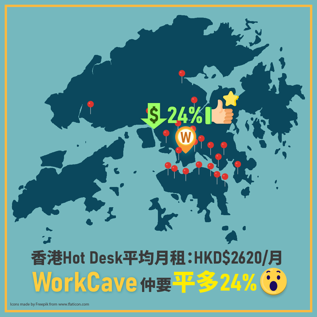 The price of WorkCave monthly hot desk pass is 24% lower than the average price