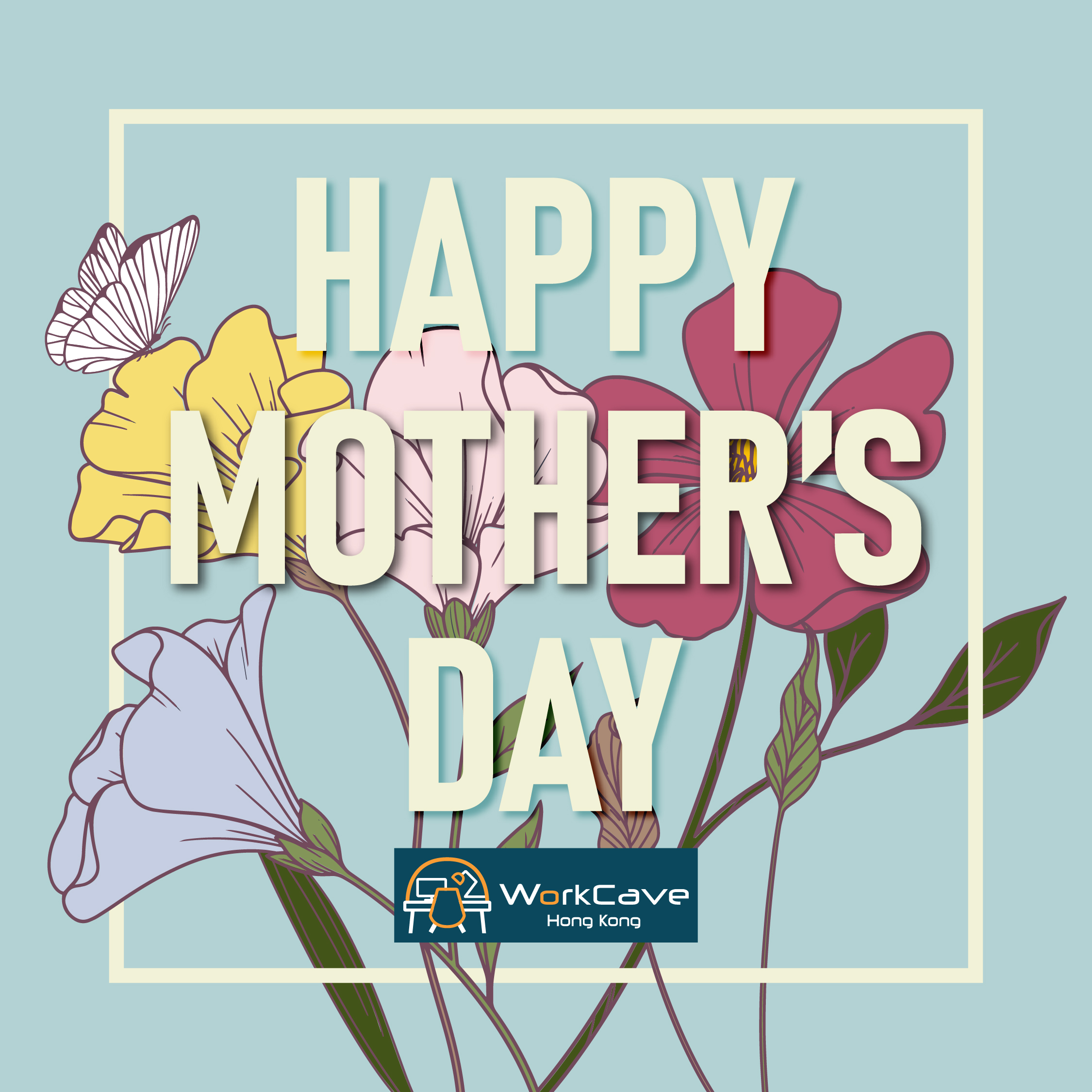 Happy Mother's Day with Flowers & Pale Blue Background
